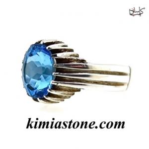 """انگشتر دست ساز نقره ، توپاز آبی """"Blue topaz"""""""